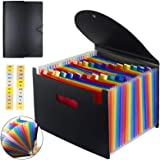 TECHTEST24 Pocket Expanding File Folder with Cover - Large Plastic Rainbow Expandable File Organizer Self Standing Accordion A4 Document Folder Wallet Briefcase Office/Business Filing Box