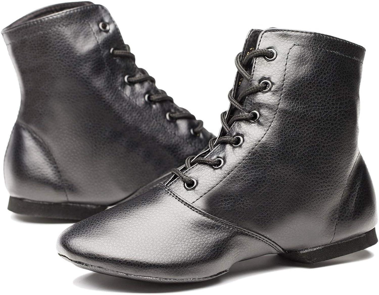 Joocare Child Black Leather Split Sole Jazz Dance Boots Shoes
