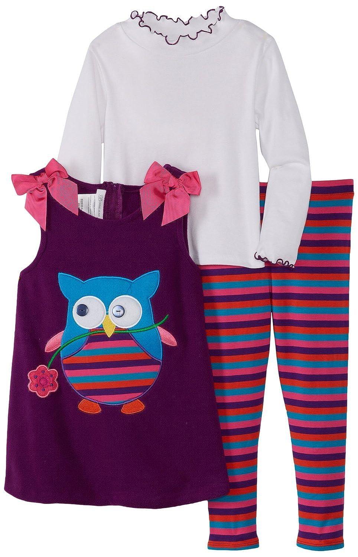 Infant Toddler 4-6x Purple Owl Applique Fleece Jumper Dress Set