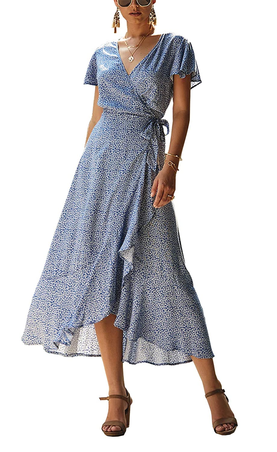 PRETTYGARDEN Womens Summer V Neck Wrap Vintage Floral Print Short Sleeve Split Belted Flowy Boho Beach Long Dress