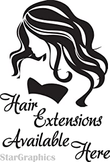 HUANYI Hairdresser Hair Extensions Salon Shop Window Sign Vinyl Sticker