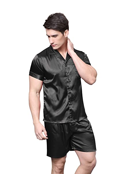 TONY AND CANDICE Men s Short Sleeve Satin Pajama Set with Shorts at Amazon  Men s Clothing store  77ad3d16c
