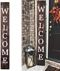 Welcome Sign for Front Door 72inch Front Porch Home Decor Indoor Outdoor Wood Sign, Vertical, Stained