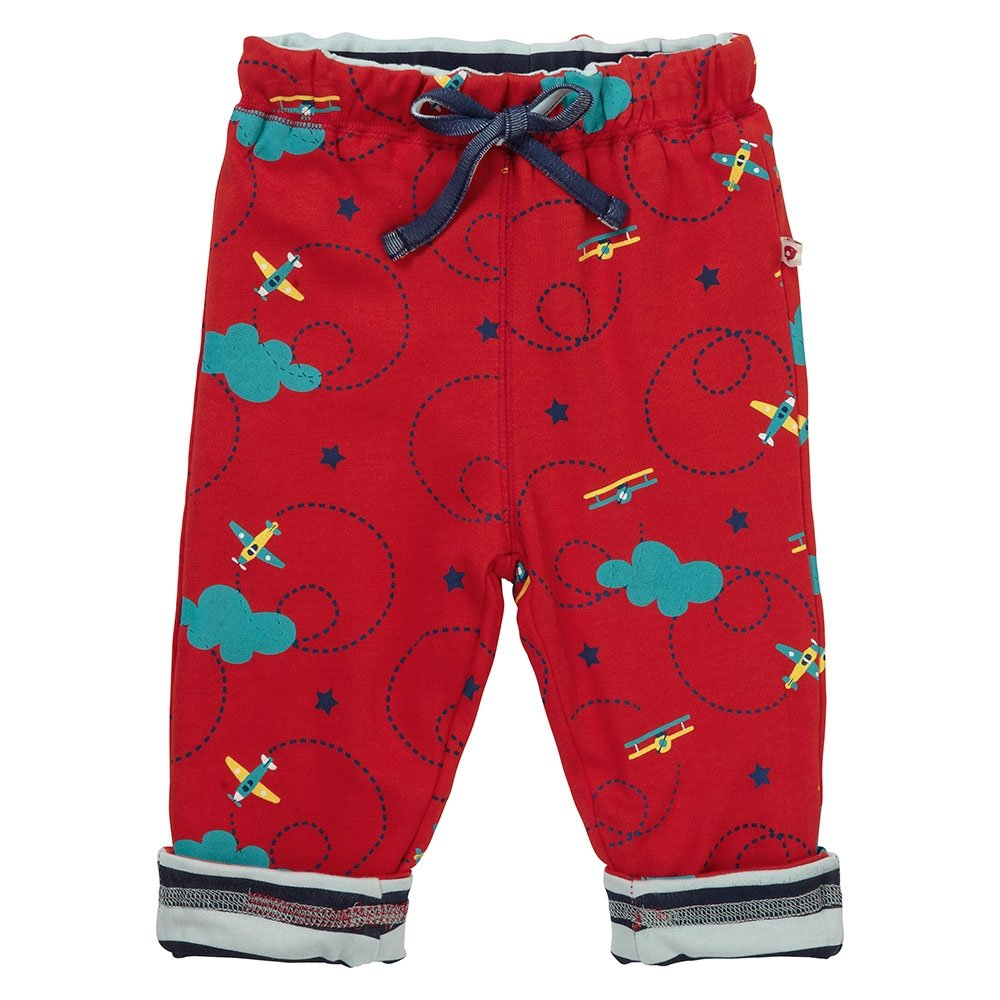 Piccalilly Unisex Red Reversible Kids Jersey Premium Organic Cotton Trousers Airplane - 2 Looks, 1 Price