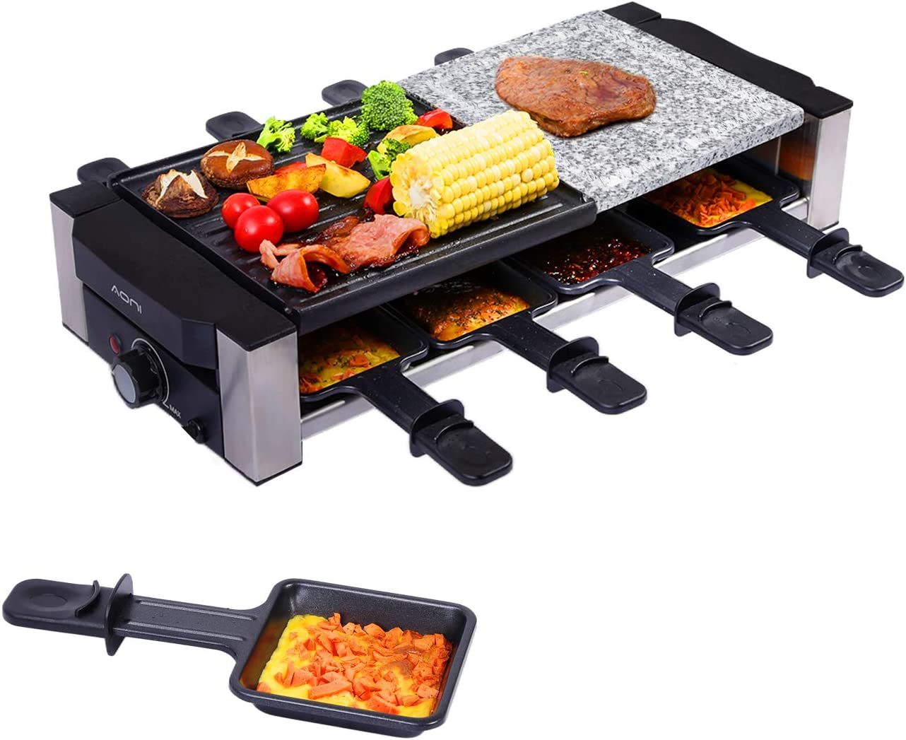 AONI Raclette Grill, Electric Indoor Grill Korean BBQ Grill, Removable 2-in-1 Non-Stick Grill Plate and Cooking Stone, Ideal for Parties with 8 Cheese Melting Pans, 1200W