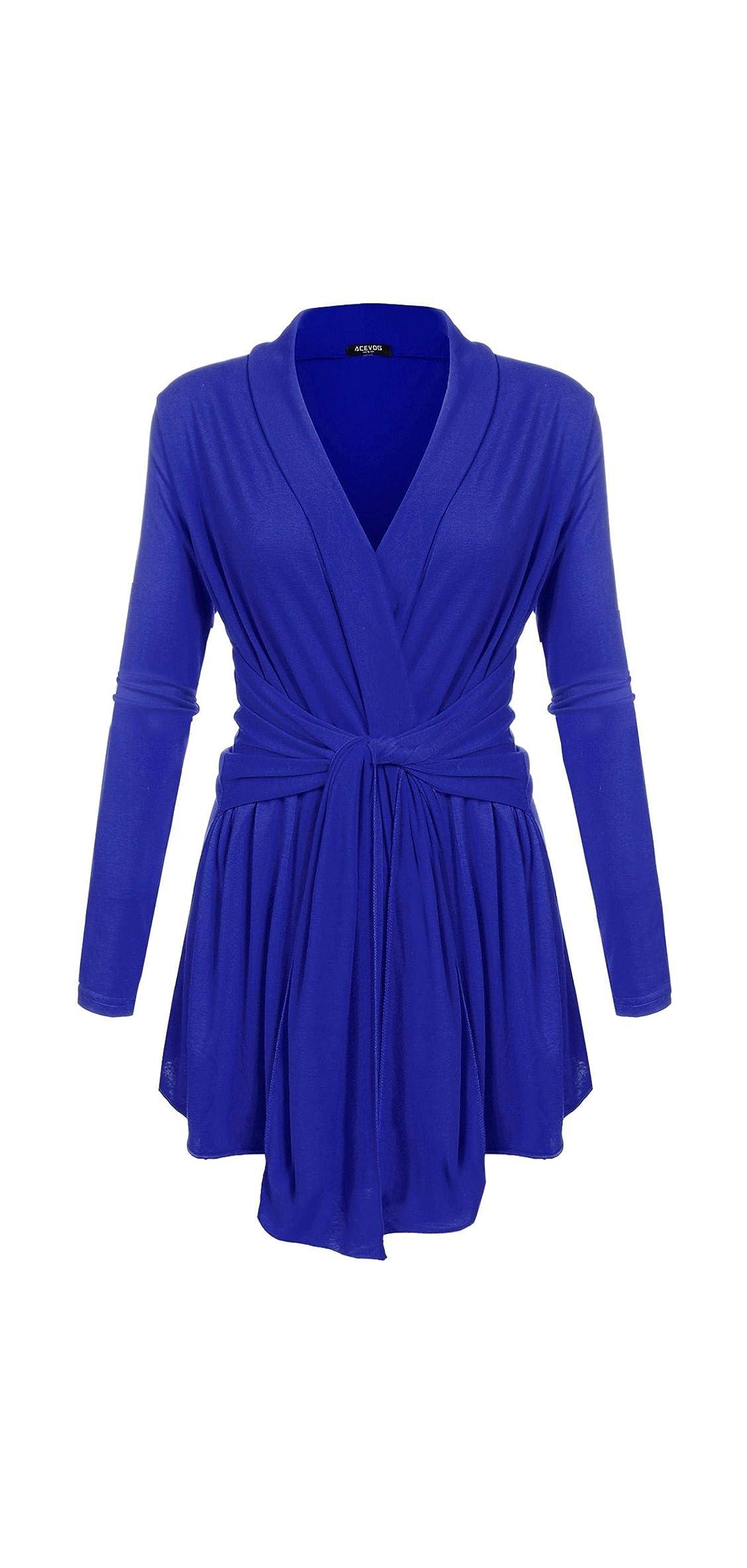 Women's Long Sleeve Cardigan Tie Waist Thin Sweaters Open
