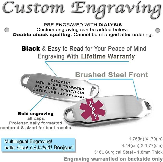 Pre-Engraved /& Customized Dialysis Medical Bracelet White My Identity Doctor Black//White Millefiori Glass Pattern