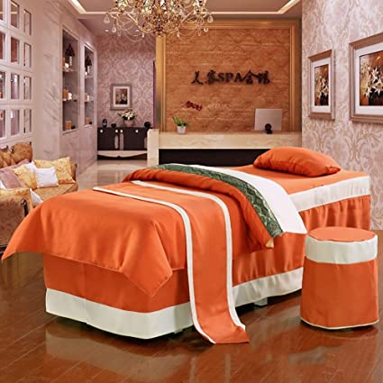 Yan Beauty Bed Linen Super Soft Beauty Bed Sheets Massage Spa Bed Linen 4  Pieces Set