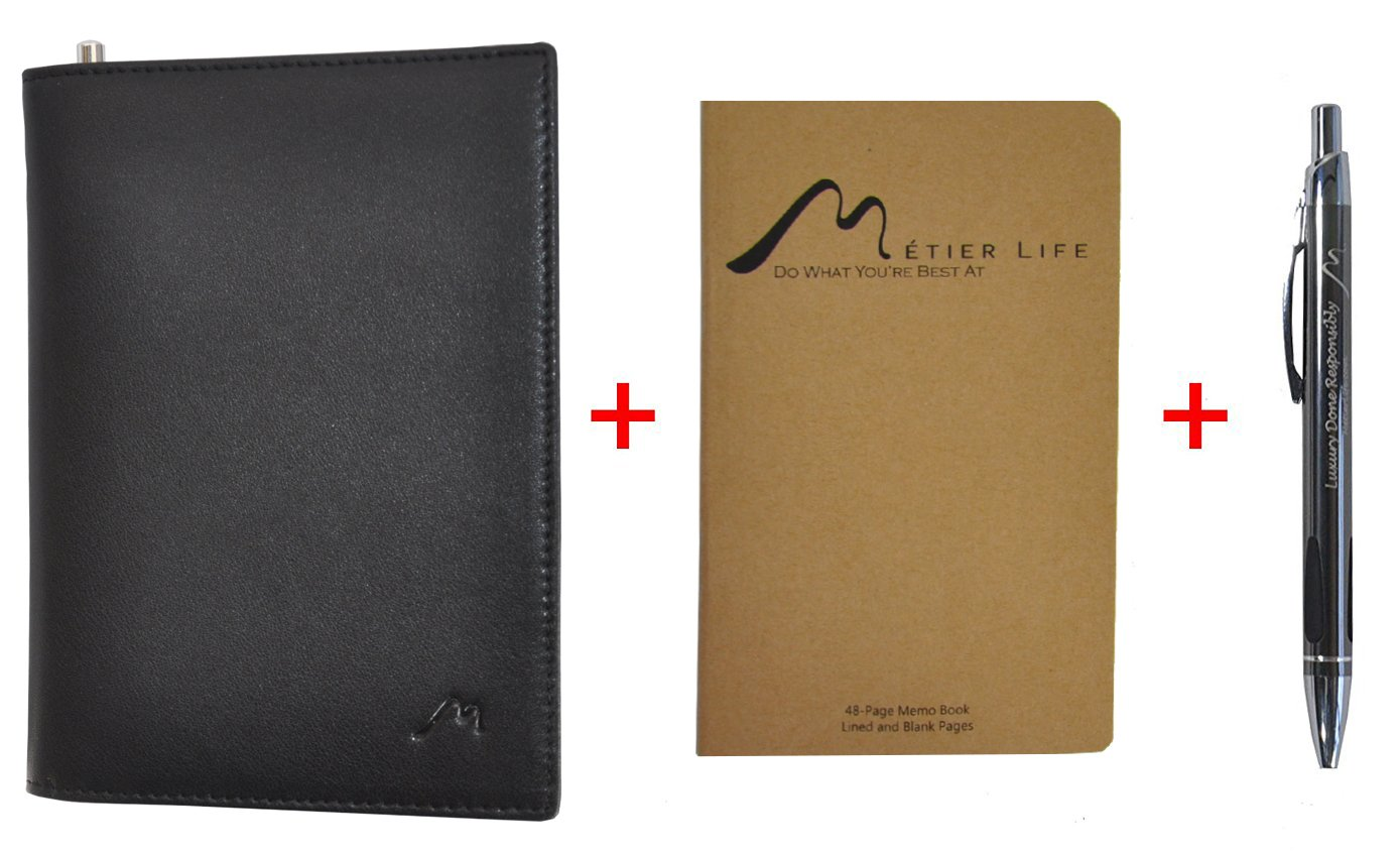 Field Notes/Moleskine Pocket Notebook Cover by Metier Life | Canvas with Vegan Leather | Fits Journals 3.5'' X 5.5'' | With Included Metier Life Notebook and Metier Pen (Vegan Leather Black) by Metier Life (Image #2)