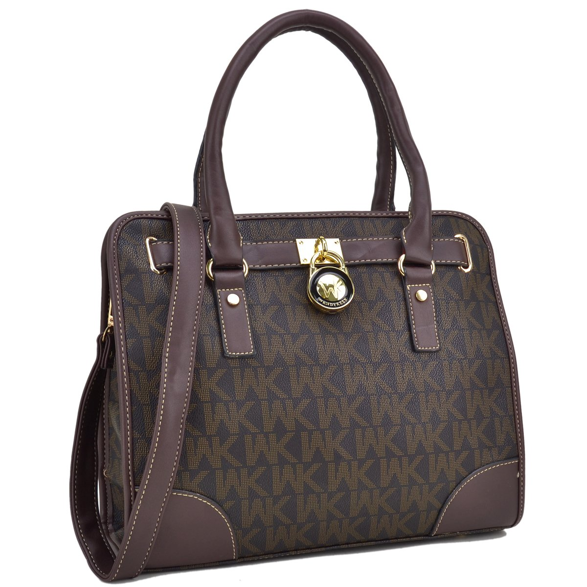 Medium Satchel Purse Designer Handbag Top Handle Shoulder Bag Padlock Coffee