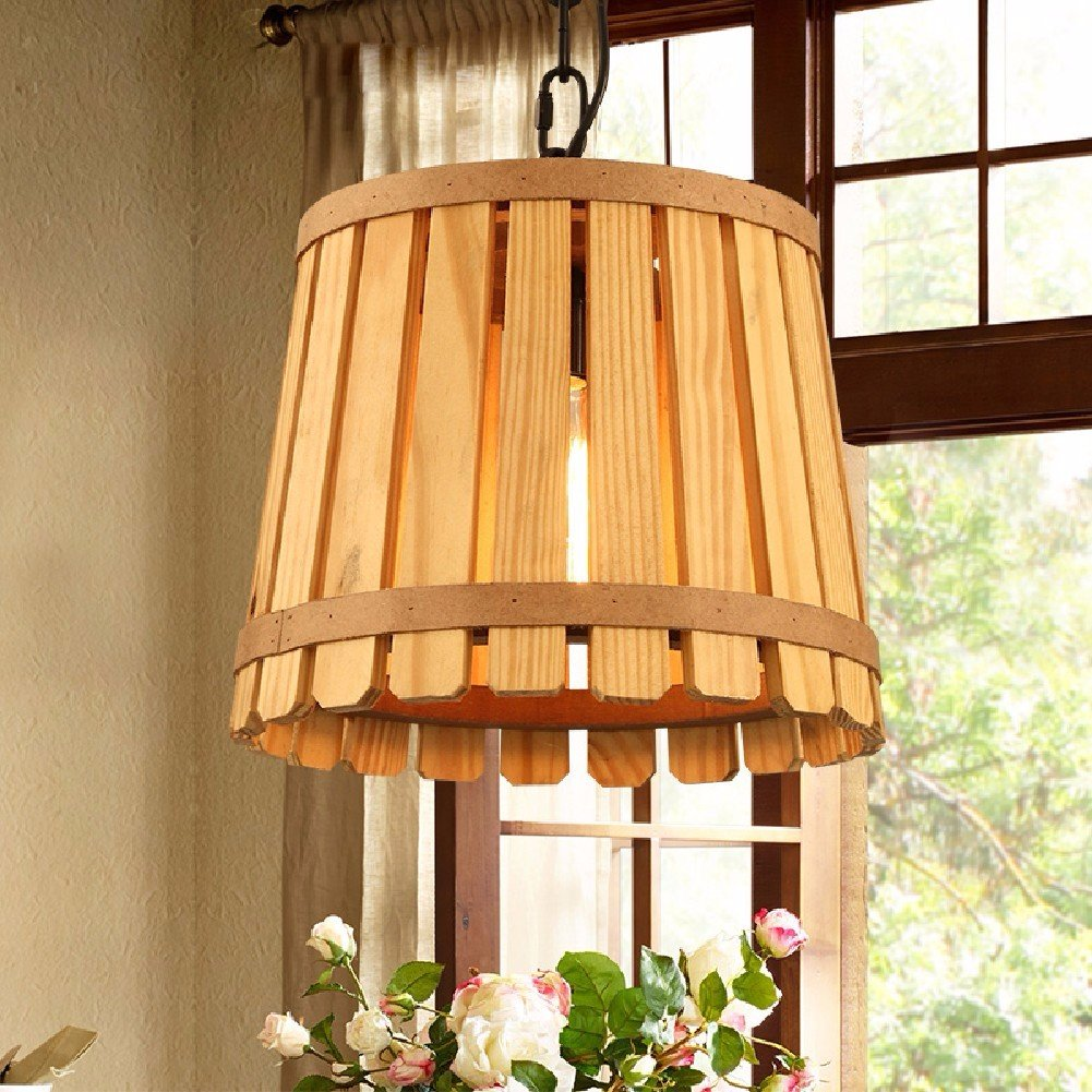 HQLCX Chandelier The American Bar Restaurant Living Room Bedroom Study Wooden Chandeliers 300X260Mm Single Head,Log Color