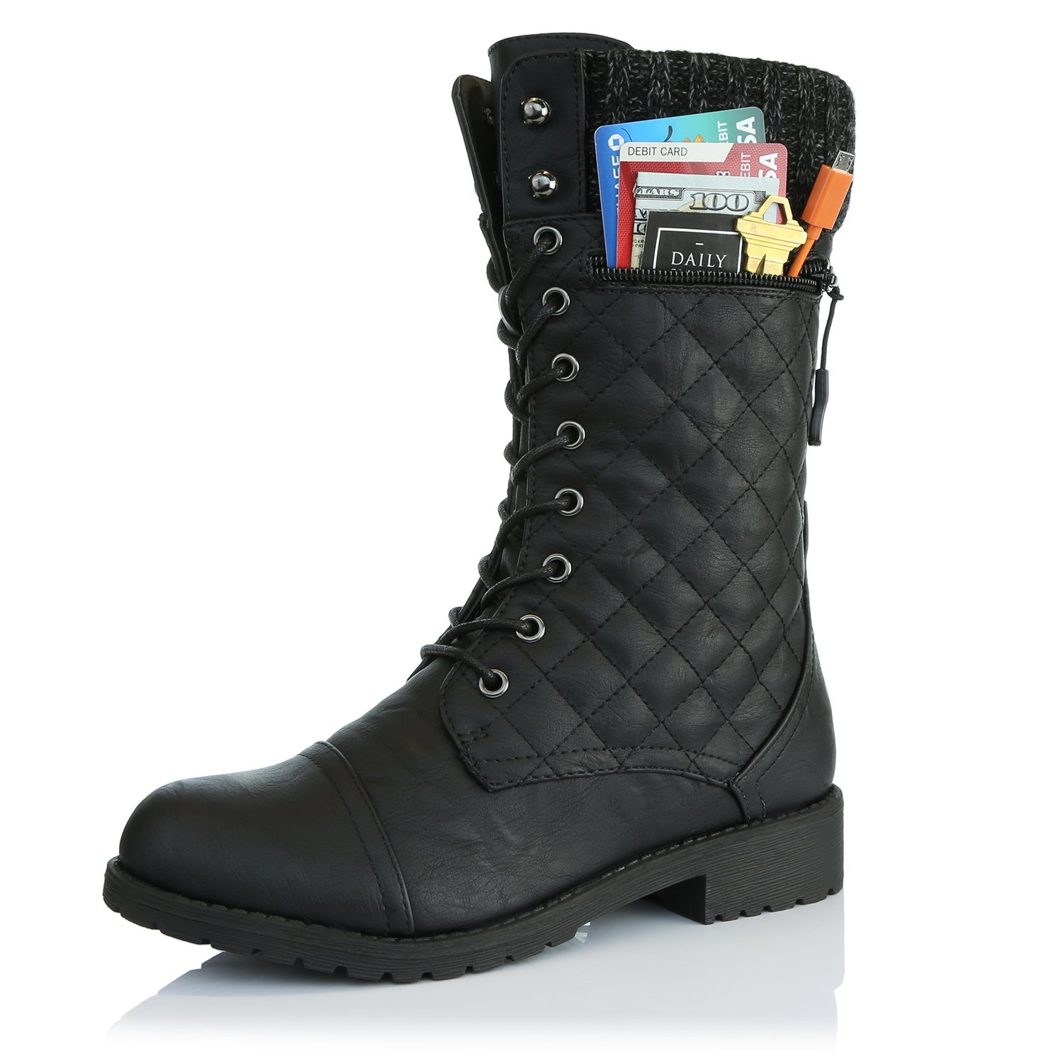 DailyShoes Women's Combat Style Lace up Ankle Bootie Quilted Military Knit Credit Card Knife Money Wallet Pocket Boots, Black Pu, 9