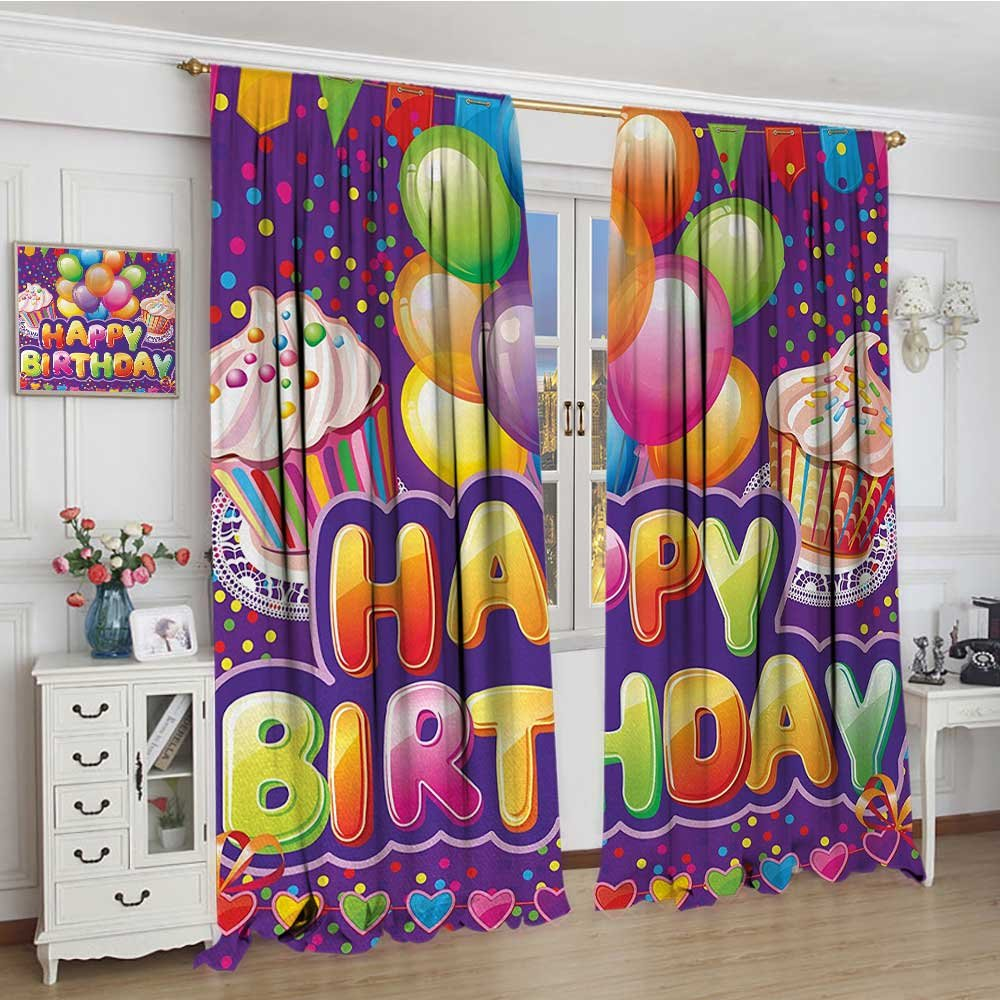 smallbeefly Birthday Room Darkening Wide Curtains Purple Colored Backdrop with Creamy Cupcakes Hearts Confetti Rain and Balloons Decor Curtains By 72''x84'' Multicolor
