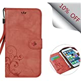 Cornmi design for iPhone 6 Case, Premium Vintage Flip Wallet Leather Magnetic Closure Cover Skin for iPhone 6 & iPhone 6S 4.7 inch with Card Slots and Wrist Strap (Wine Red)