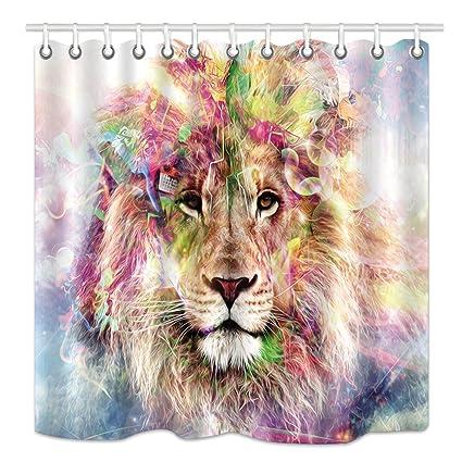 DYNH Lion Shower Curtain Watercolor Ornate Forest Wild Animals Head Boho Home Safari Theme