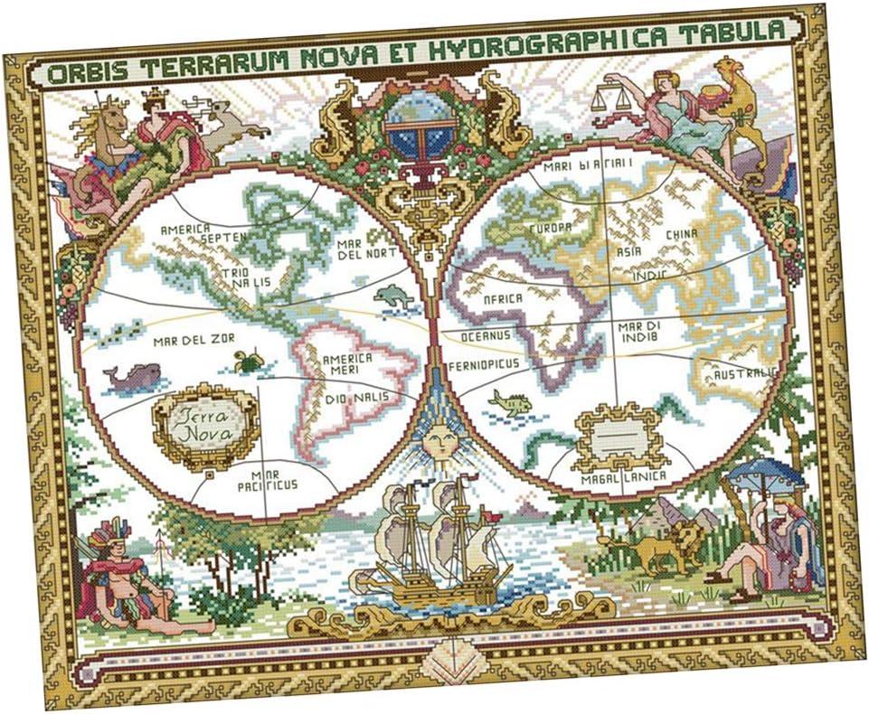 Baoblaze Kits de Punto de Cruz Cuadros Estampados Hechos a Mano Artesanales DIY - Mapa de Viejo Mundo, 51x42cm