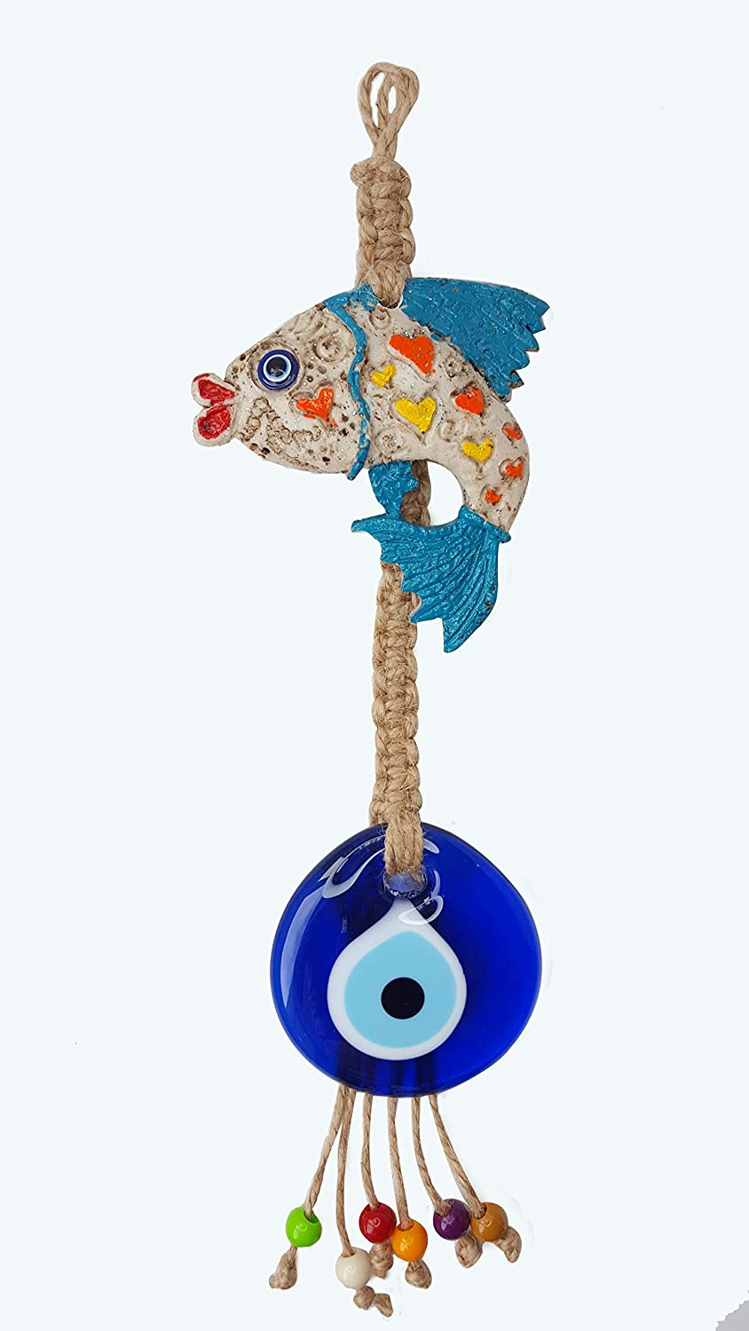 supers Ceramic Fish with Evil Eye Beads Wall Hanging Decor - Handmade Blue Glass - Blessing Charm Talisman Protection - Turkish Nazar - Decorative Ornament Great Gift - Luck Health Fortune Wealthiness