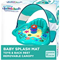 SwimSchool Baby Splash Play Mat Seat, Inflatable Pool for Babies & Infants with Backrest and Canopy, Includes Three…