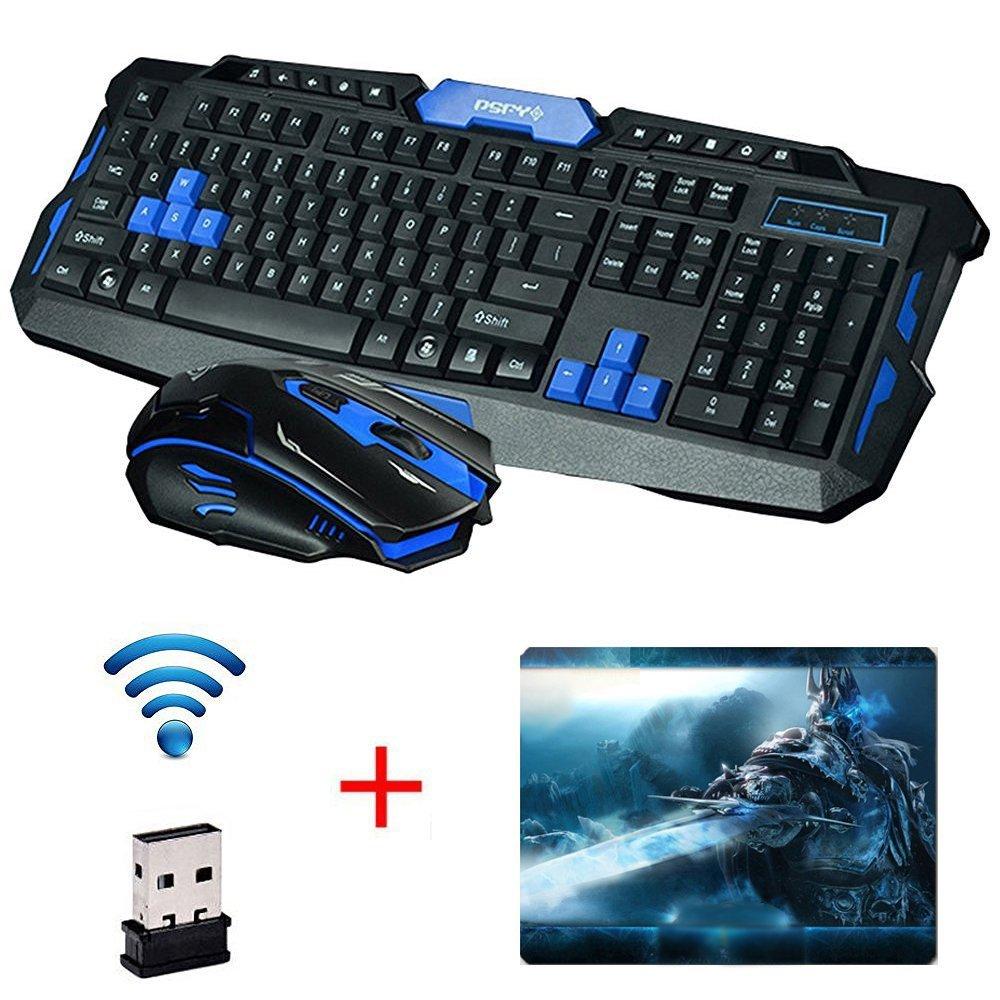 UrChoiceLtd® 2017 Cityform HK8100 Inalámbrico Multimedia Gaming Teclado + 2,4 GHZ 4 Botones Ratón De Golf, Color Negro Y Azul: Amazon.es: Electrónica
