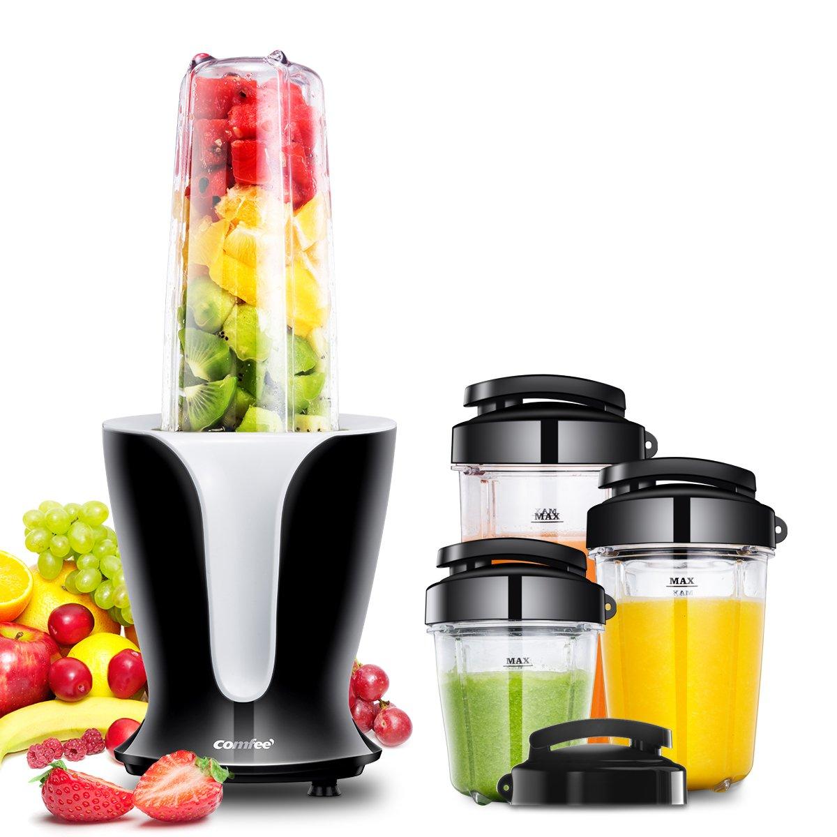 Mixer Grinder, Smoothie Blender, Personal Shakes Blender, 18000RPM High Speed Motor, Detachable Blade, 4 Tritan Travel Cups 32oz/24oz/18oz/12oz, 900W by Comfee by COMFEE'