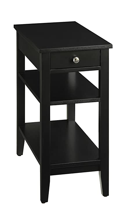 Charmant Amazon.com: Convenience Concepts American Heritage 3 Tier End Table With  Drawer, Black: Kitchen U0026 Dining