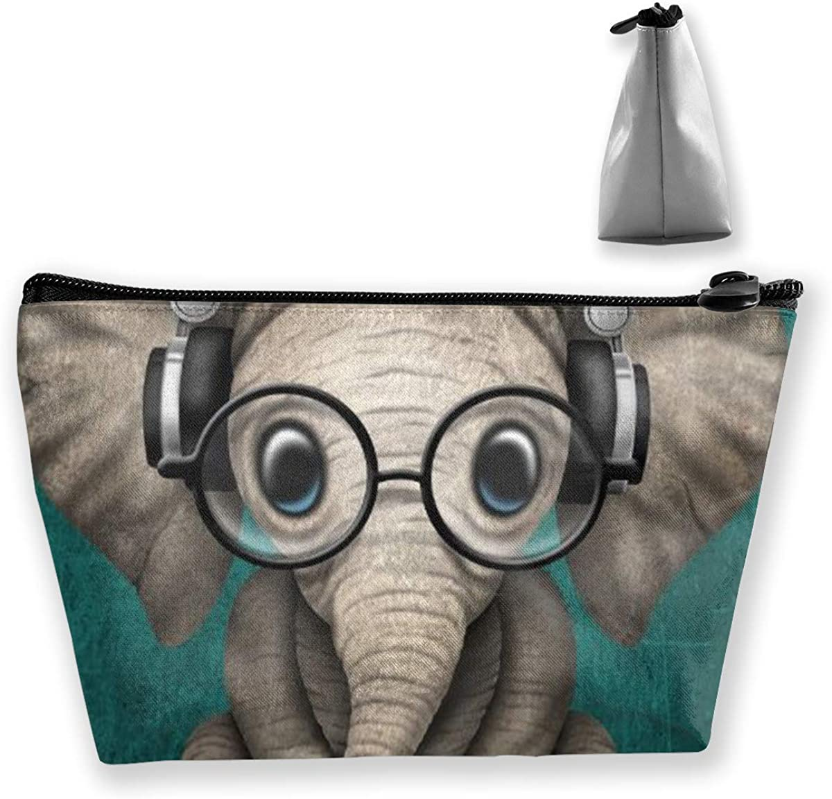 Cute Baby Elephant Dj Multi-functional Trapezoidal Storage Bag Toiletry Bag Zipper Receive Bag