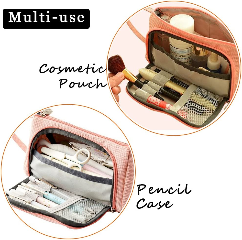 Grande capacit/é Trousse /à crayons Durable School Student Porte-stylo Organisateur Maquillage Trousse de maquillage pour fille 20 x 11 cm bleu