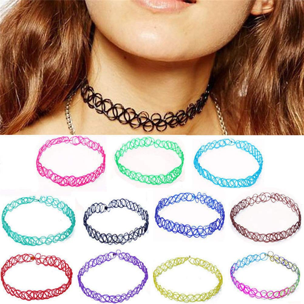MONLAIEYLIU 12 Pcs Choker Necklace Vintage Stretch Tattoo Choker Fish Line Collar Necklace for Women Girls Punk Retro Charm Observeio
