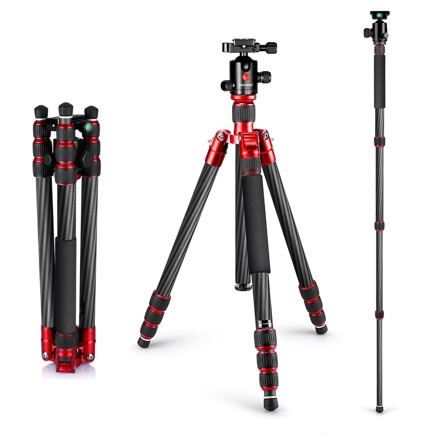 Neewer Carbon Fiber 63/160cm Tripod Monopod with 360 Degree.