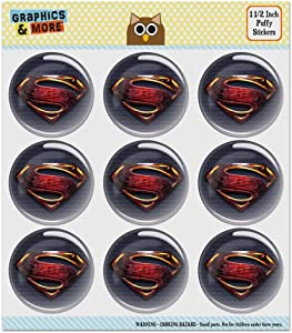 Justice League Movie Superman Logo Puffy Bubble Dome Scrapbooking Crafting Sticker Set