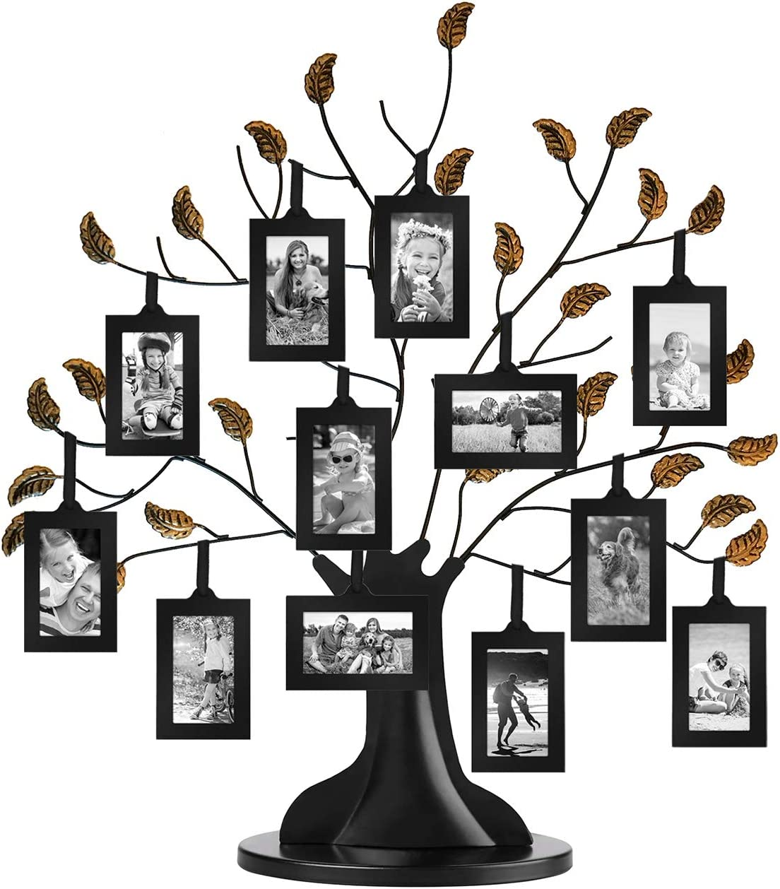 "Americanflat Bronze Family Tree with 12 Hanging Picture Frames 2"" x 3"" in Black and Adjustable Ribbon Tassels - 22"""