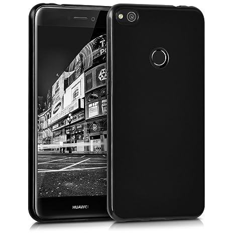 kwmobile Funda para Huawei P8 Lite (2017) - Carcasa para móvil en [TPU Silicona] - Protector [Trasero] en [Negro Brillante]