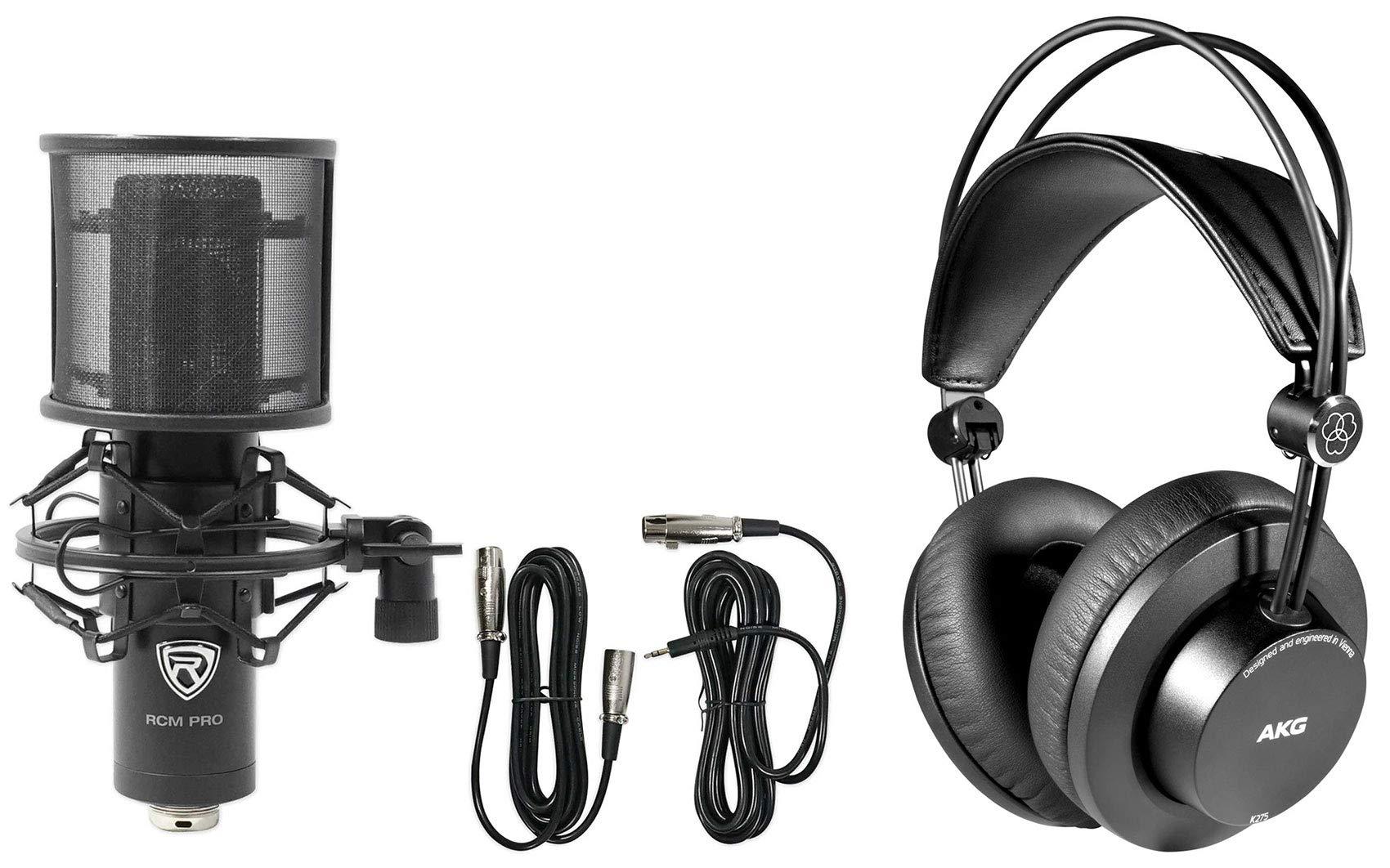 AKG K275 Recording Monitoring Studio Headphones+Condenser Mic+Shockmount+Cables