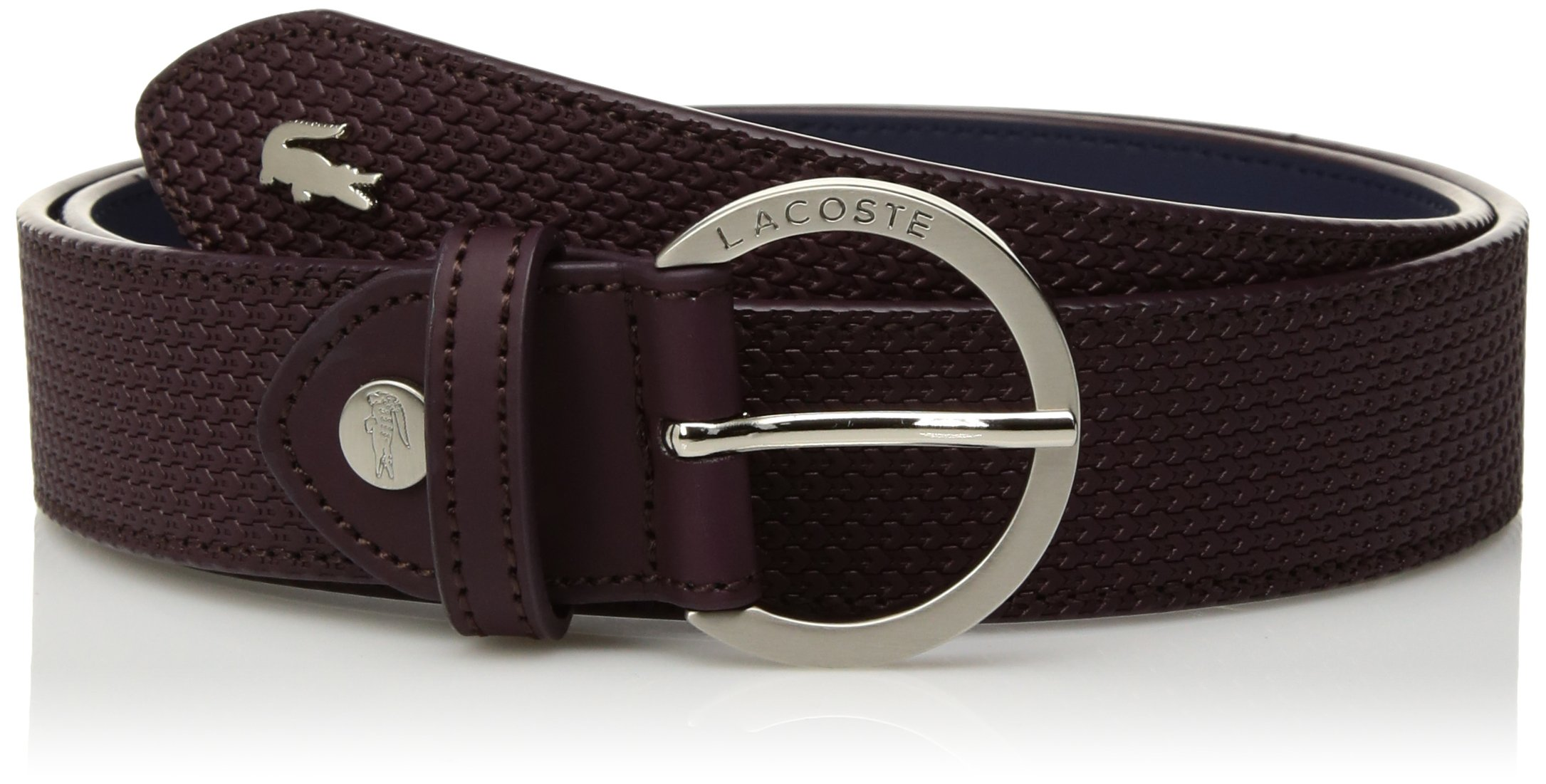 Lacoste Women's 30 Raw Stitched Edges Belt, Winetasting, 35 in