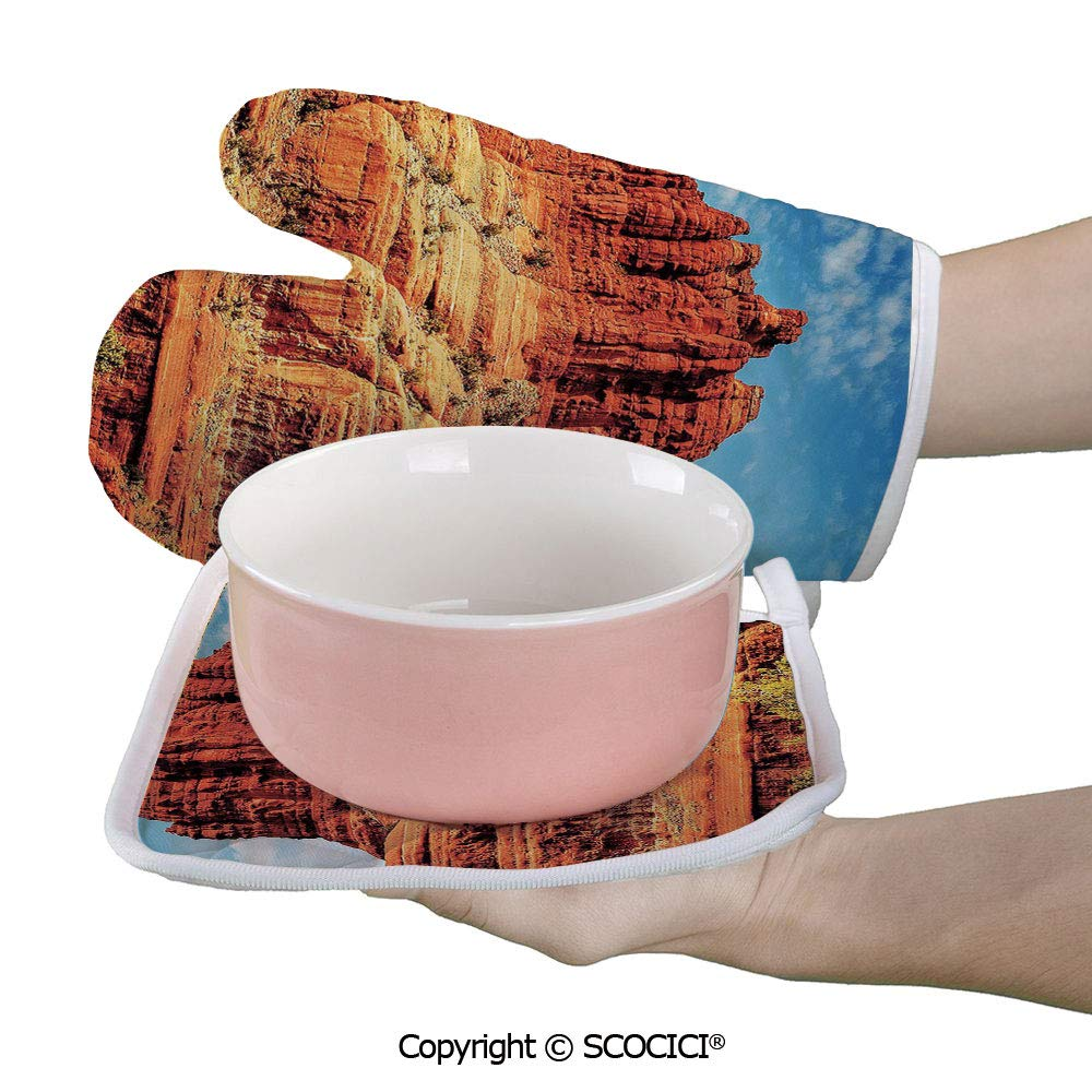 SCOCICI Oven Mitts Glove - Famous Bell Rock and Courthouse Butte in Sedona Arizona USA Nature Desert Heat Resistant, Handle Hot Oven Cooking Items Safely