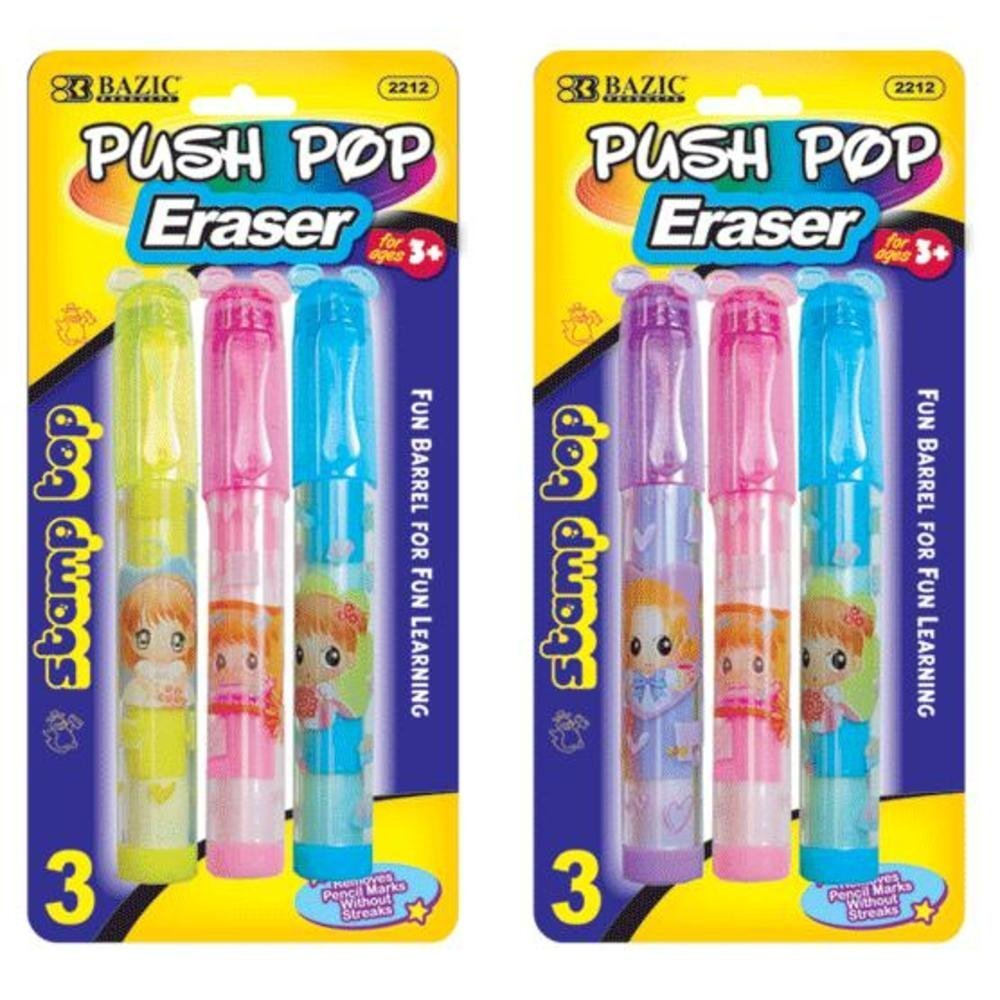 BAZIC Fancy Push-Pop Pencil Eraser w/ Stamp Top (3/Pack), Case Pack of 144