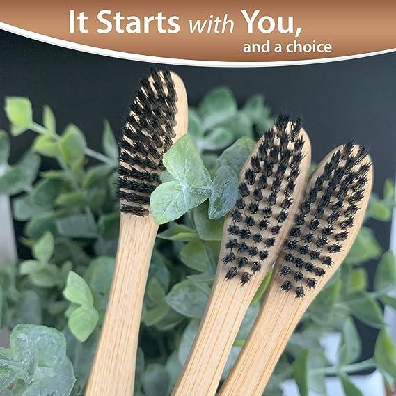 Kho Natural|Biodegradable|Cepillo de dientes de bambú ecológico Juego de 4 - Cerdas de nylon sin BPA carboncillo suave