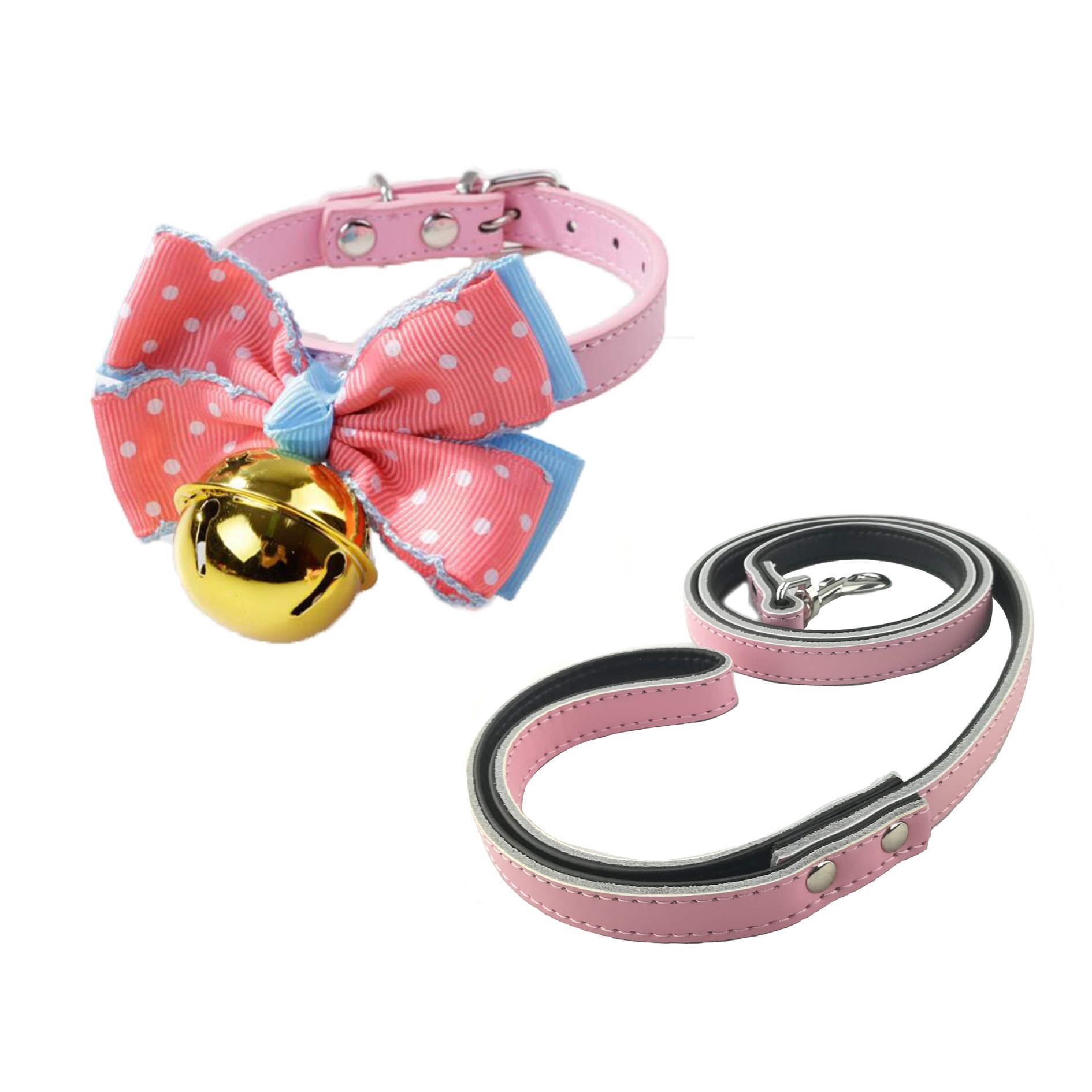 Newtensina Stylish Dog Collars Bow Tie with Gold Bell and Dog Lead Cute Kitten Bells Puppy Bow Tie Collar with Leash for Small Dogs