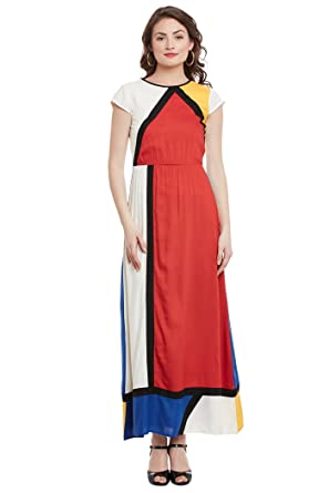 a8caca84a1 THE VANCA Women Multi Panel Multi Color Maxi Dress with Elasticated Waist  and Cap Sleeve  Amazon.in  Clothing   Accessories