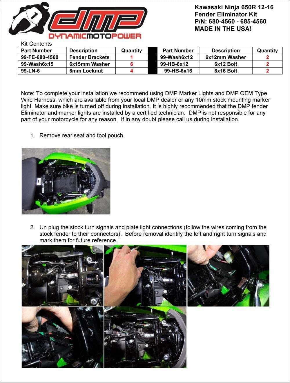 MADE IN THE USA 680-4560 DMP 2012 2013 2014 2015 2016 Kawasaki Ninja 650R 650 R Fender Eliminator