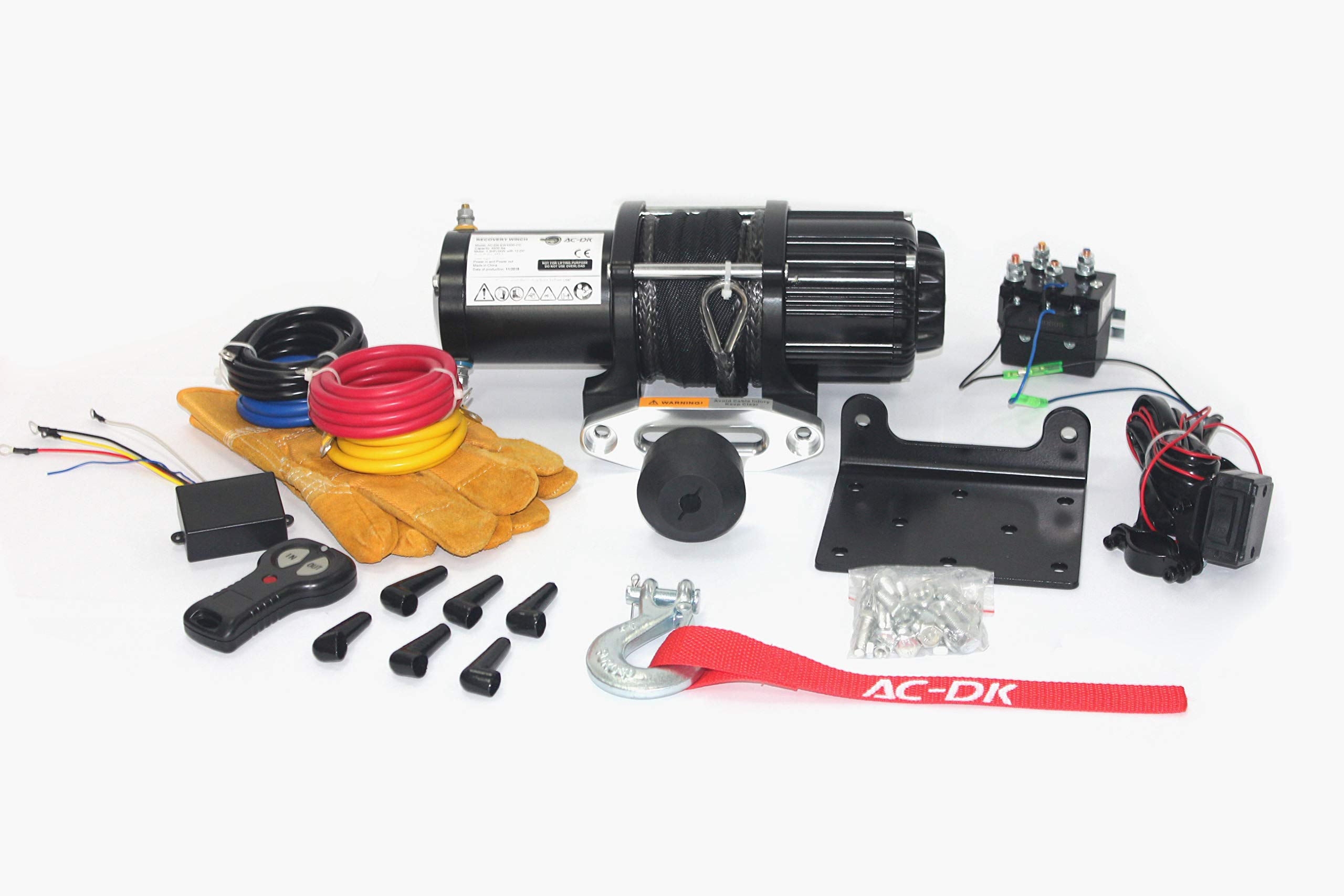 AC-DK 12V 4500lb ATV Winch UTV Winch Electric Winch Set for 4x4 Off Road (4500lb Winch with Synthetic Rope)