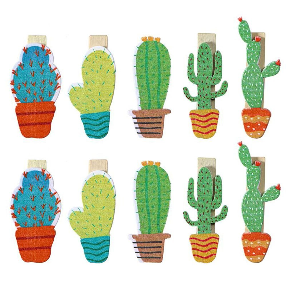 EOPER 30 Pieces Cute Cactus Wooden Pegs Photo Clips Pins Note Memo Card Holder for Wedding Party Decoration