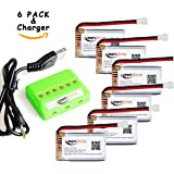 Keenstone 3.7V 720mAh 20C battery with 6-Port Quick Charger for Syma X5, X5C, X5SC, X5SW and Cheerson CX-30W Quadcopters (Pack of 6)