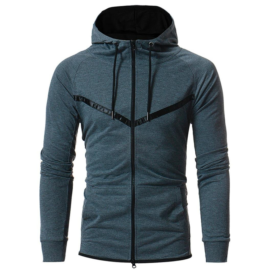 HOT ! YANG-YI Mens' Long Sleeve Patchwork Hoodie Hooded Sweatshirt Tops Jacket Coat Pocket (Gray, L)