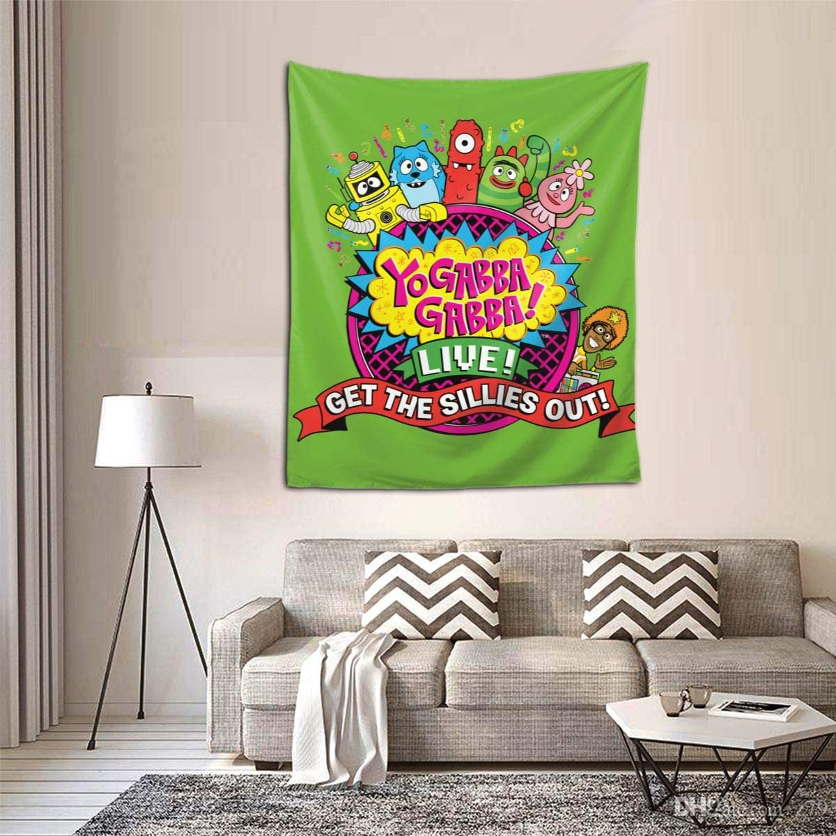 "Qwtykeertyi Yo Gabba Gabba Decorative Wall Blanket Tapestries for Bedroom Living Room Dorm Decor 60"" X 51""Inches Indoor Tapestries Vertical Version Tapestry"