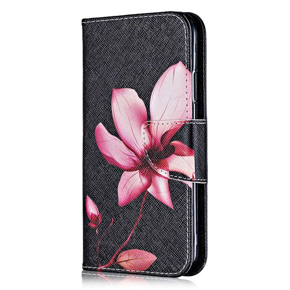 Coque Huawei Honor 8A, Bear Village® Motif Peint Étui en Cuir avec Slots pour ID et Cartes, Premium Housse avec Fonction Stand pour Huawei Honor 8A (#5 Fleur)