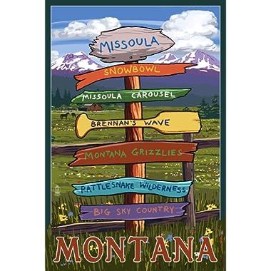 Missoula, Montana - Destination Signpost (12x18 Art Print, Wall Decor Travel Poster)