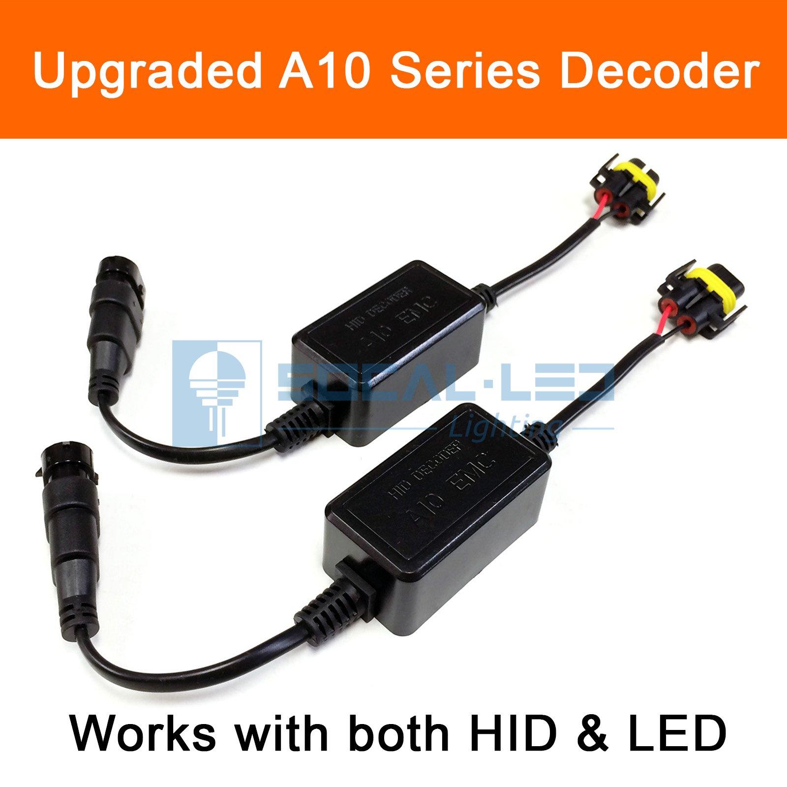 SOCAL-LED 2x A10 H11 H8 EMC Headlight Kit CANBUS HID LED Decoder Anti-Flicker Error Canceller Relay Resistor Adapter