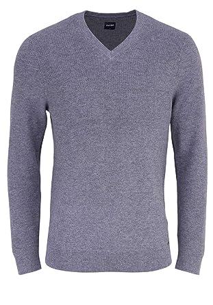 OLYMP Strick modern fit Pullover Langarm V Ausschnitt grau