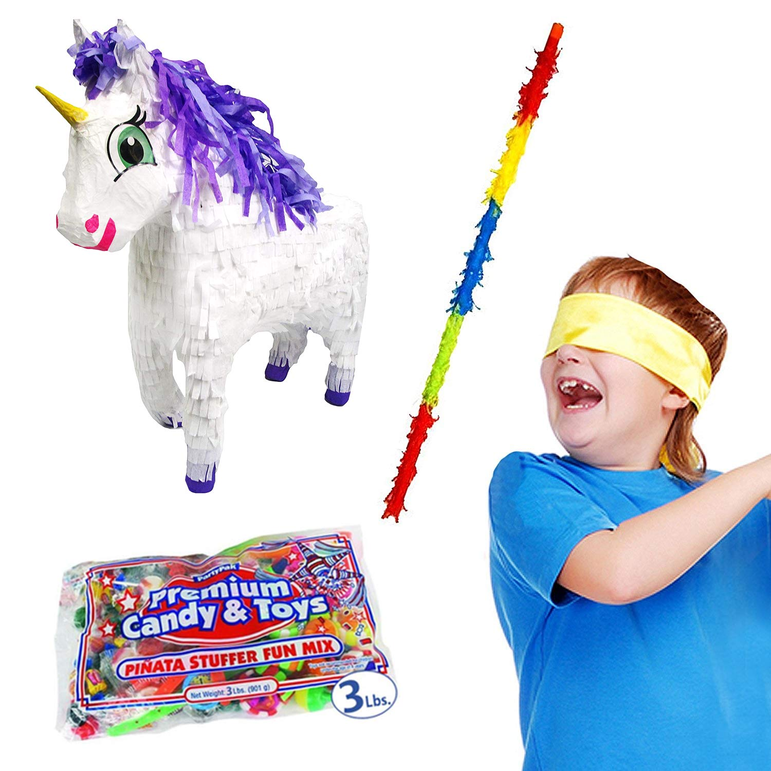 Pinatas Fairytale Unicorn Kit Including, Buster Stick, Bandana, 3 lb Toy and Candy Filler by Pinatas (Image #1)